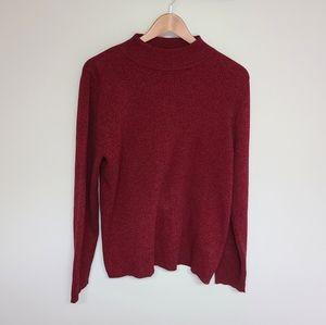 Karen Scott Long Sleeve Cowl Neck Sweater in Red